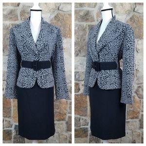 Calvin Klein 12 Leopard Cheetah Belted Skirt Suit